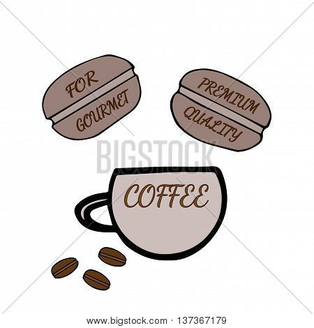 Hand drawn cup of coffee with inscription For gourmet and Premium quality on the white background
