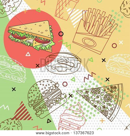Fast Food Seamless Pattern. Trendy Geometric Elements Memphis Cards. Texture, Pattern And Geometric