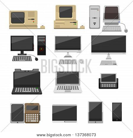 Computer technology vector evolution isolated display. Telecommunication equipment metal pc monitor frame computer modern office network. Old computer device electronic black equipment space.