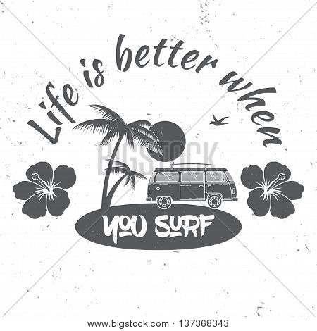 Surf Club Concept.vector Summer Surfing Retro Badge. Surfer Club Emblem , Outdoors Banner, Vintage B