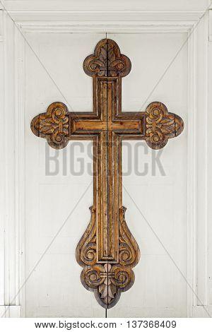 big cross on the russian church door in Druskininkai, Lithuania