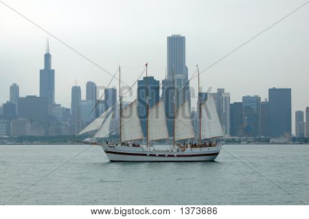 Chicago Skyline With Sailboat