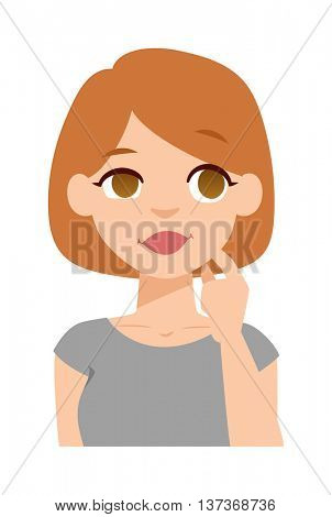 Quiet woman vector illustration.