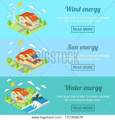 Eco Energy Horizontal Banner Set With Low-energy Houses. Wind Turbine, Solar Panels And Hydro Power