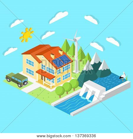 Isometric Low-energy House. Wind Turbine, Solar Panels And Hydro Power Plant .for Web Design, Mobile