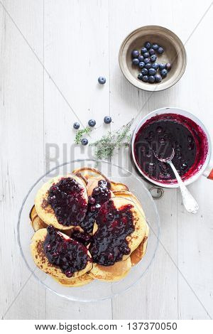 Breakfast With Blueberry Pancakes
