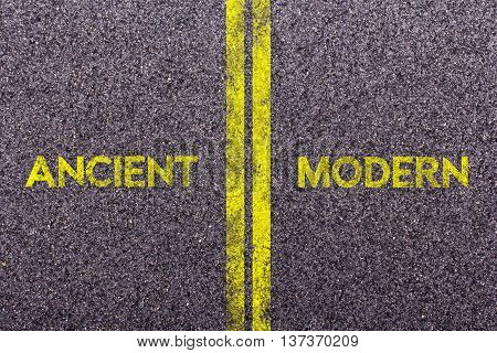 Tarmac With The Words Ancient And Modern