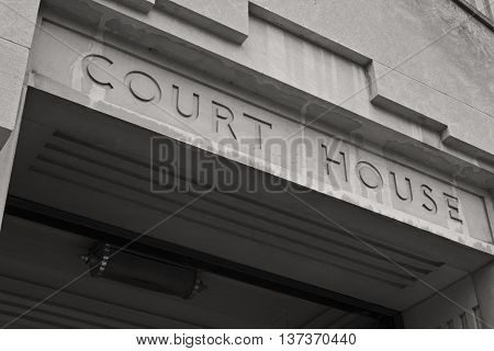 Court House Facade in Black and White I