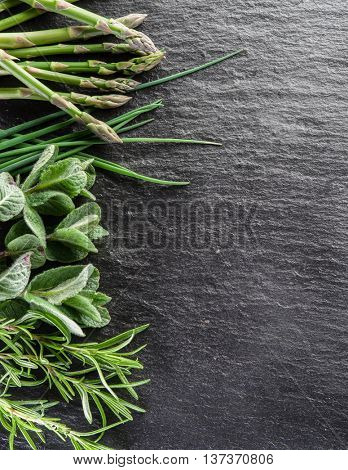 Green herbs on the graphite board.