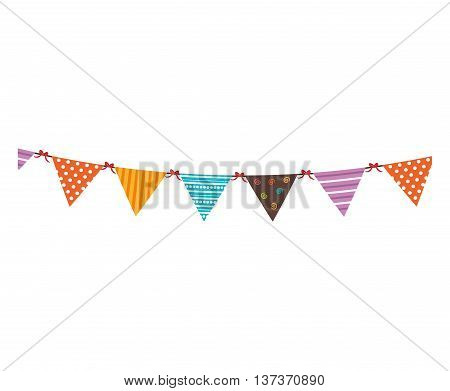 Colorful pennants for celebrations, isolated flat icon vector illustration.