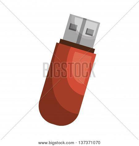 Red USB portable memory, vector illustration graphic design.