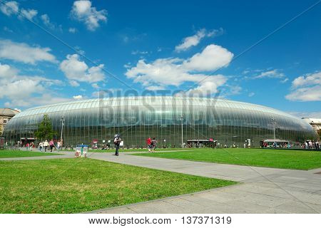 Strasbourg, Alsace, France - July 7, 2012: The ultra-modern building of the Central Railway Station. The glass dome was built over the old station building in 2006-2007.