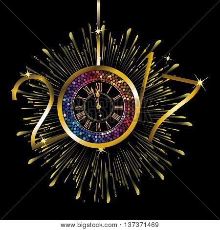 Gold and rainbow color clock with New Year numerals 2017 on a radiating grunge black background
