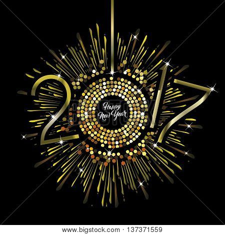 Gold Clock with New Year numerals 2017 on a radiating grunge black background