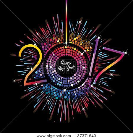 Rainbow Clock with New Year numerals 2017 on a radiating grunge black background