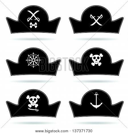 Pirate Hat Set In Black Illustration