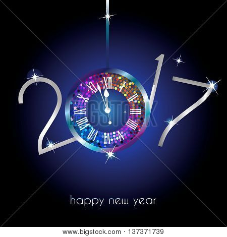 Rainbow clock with New Year numerals 2017 on a blue background