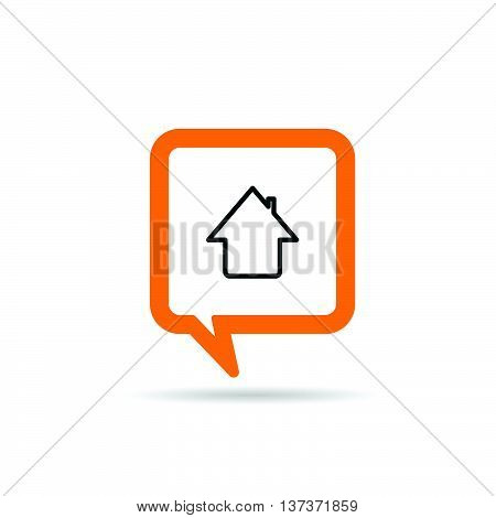 Square Orange Speech Bubble With House Icon Illustration