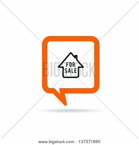 Square Orange Speech Bubble With House Sale Icon Illustration