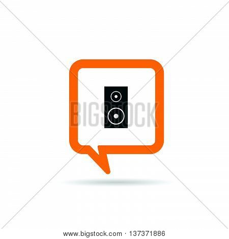 Square Orange Speech Bubble With Speaker Icon Illustration
