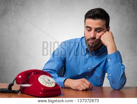 Man waiting for a phone call