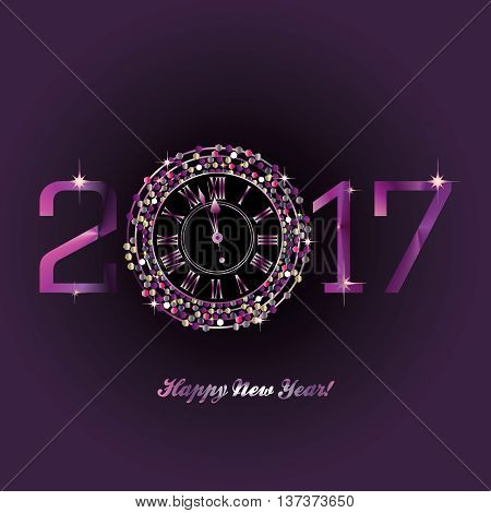 Purple Clock with New Year numerals on a deep purple background