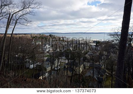 A view of the east side of Harbor Springs, Michigan, as seen from the bluff above downtown on Christmas Day, 2015.