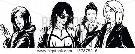 Beautiful fashionable woman talkig. Vector illustration. Comics.