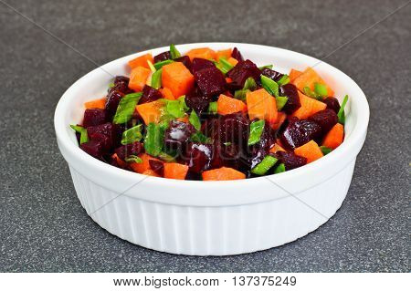 Healthy and Diet Food: Carrot, Beets, Vegetable Oil Studio Photo