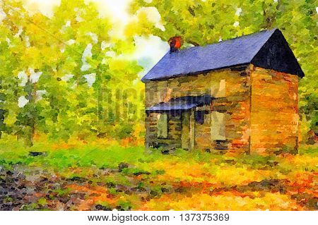 Very Nice watercolor painting Of a Vintage House in the woods