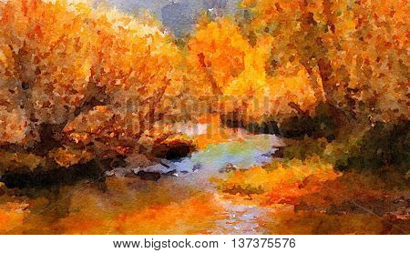 beautiful Painting Of the River running through Lee Vining.