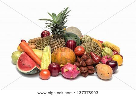 Assortment group of Asian fresh fruits and vegetables isolated on white background Thailand