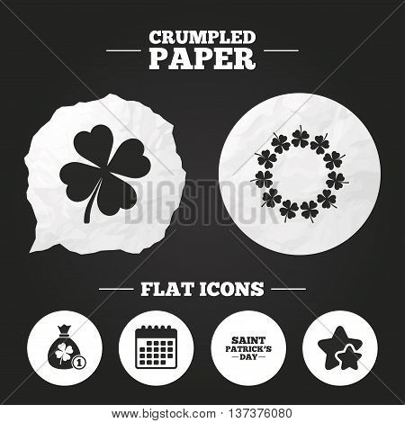 Crumpled paper speech bubble. Saint Patrick day icons. Money bag with coin and clover sign. Wreath of quatrefoil clovers. Symbol of good luck. Paper button. Vector