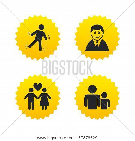 Businessman person icon. Group of people symbol. Man love Woman or Lovers sign. Caution slippery. Yellow stars labels with flat icons. Vector