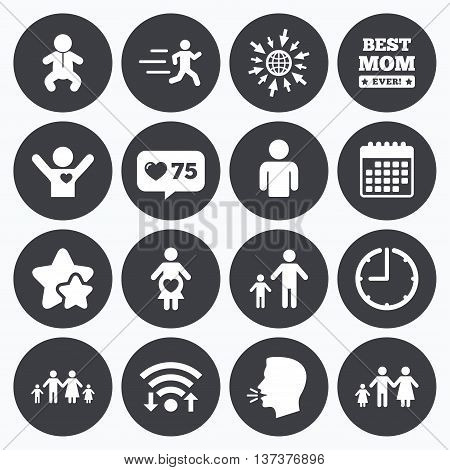 Calendar, wifi and clock symbols. Like counter, stars symbols. People, family icons. Maternity, person and baby signs. Best mom, father and mother symbols. Talking head, go to web symbols. Vector