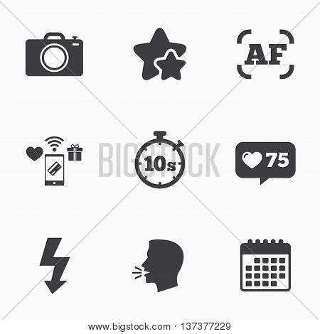 Photo camera icon. Flash light and autofocus AF symbols. Stopwatch timer 10 seconds sign. Flat talking head, calendar icons. Stars, like counter icons. Vector