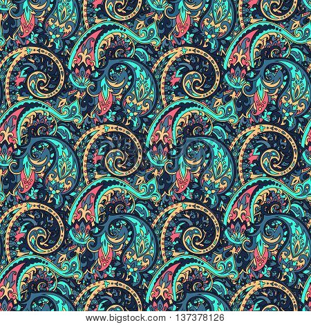 Seamless pattern based on traditional Asian elements Paisley. Boho vintage style vector background. Best motive for print on fabric or paper.