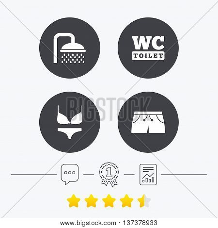 Swimming pool icons. Shower water drops and swimwear symbols. WC Toilet sign. Trunks and women underwear. Chat, award medal and report linear icons. Star vote ranking. Vector