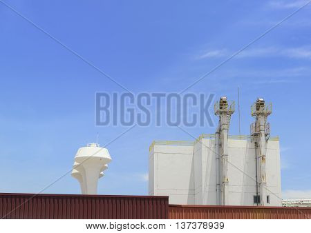 The factory building with the smokestacks in the blue sky day