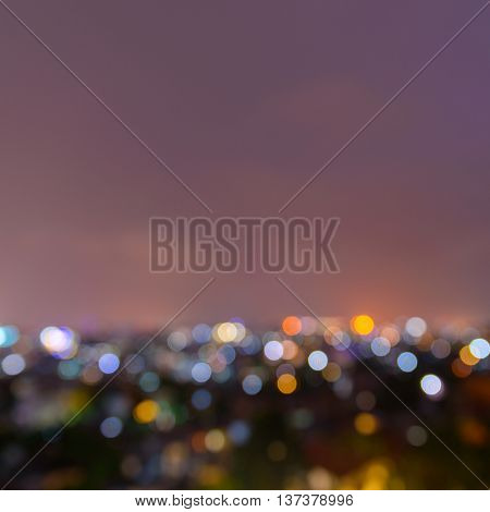 Out of focus city lights at night background