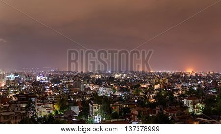 Patan and Kathmandu city at night in Nepal