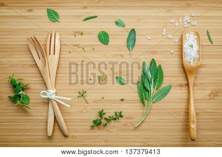 Aromatic Herbs And Spices  Green Mint ,fennel ,oregano, Sage,rosemary,lemon Thyme And Peppermint Wit