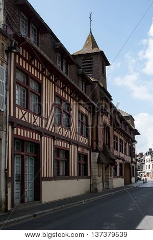 Typical architecture of small Normandy cities from Pont-l'Eveque. France