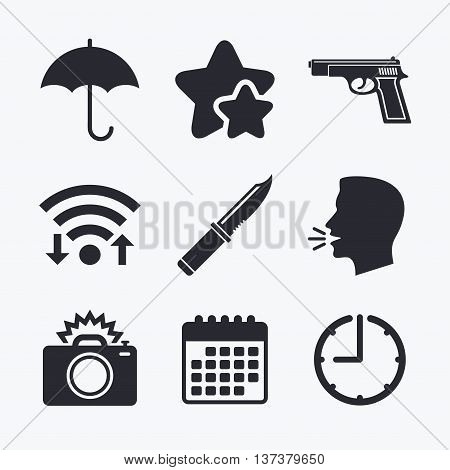 Gun weapon icon.Knife, umbrella and photo camera with flash signs. Edged hunting equipment. Prohibition objects. Wifi internet, favorite stars, calendar and clock. Talking head. Vector