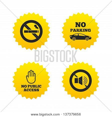 Stop smoking and no sound signs. Private territory parking or public access. Cigarette and hand symbol. Yellow stars labels with flat icons. Vector