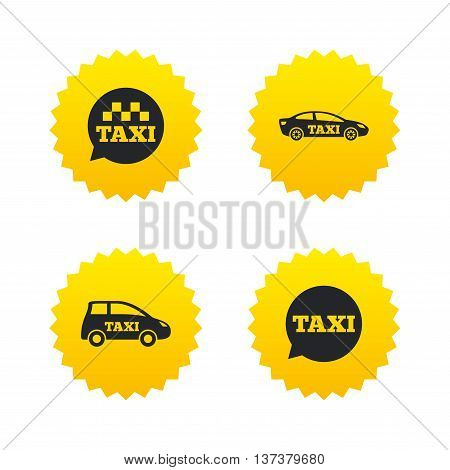 Public transport icons. Taxi speech bubble signs. Car transport symbol. Yellow stars labels with flat icons. Vector