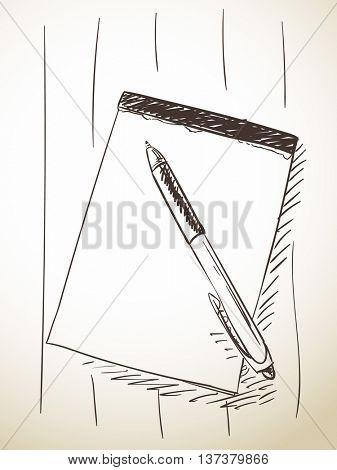 Sketch of pen and notebook, Hand drawn vector illustration