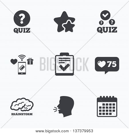 Quiz icons. Human brain think. Checklist with check mark symbol. Survey poll or questionnaire feedback form sign. Flat talking head, calendar icons. Stars, like counter icons. Vector