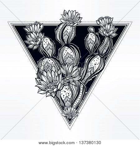 Drawing of cactus im sacred triangle. Desert cacti art. Vector illustration isolated. Ethnic, mystic tribal boho symbol. Blackwork tattoo flash, new school dotwork. Posters, t-shirts and textiles.