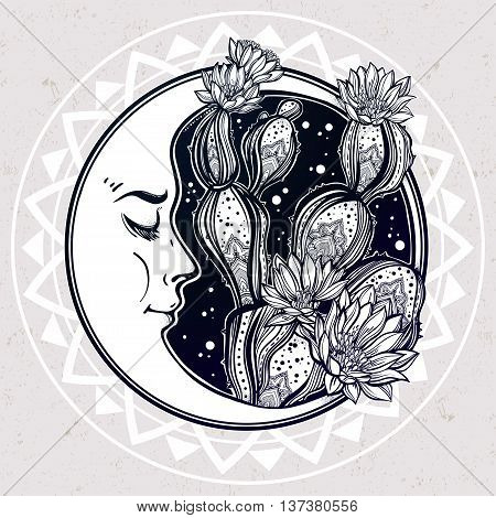 Drawing of moon and cactus. Desert cacti art. Vector illustration isolated. Ethnic design, mystic tribal boho symbol. Blackwork tattoo flash, new school dotwork. Posters, t-shirts and textiles.